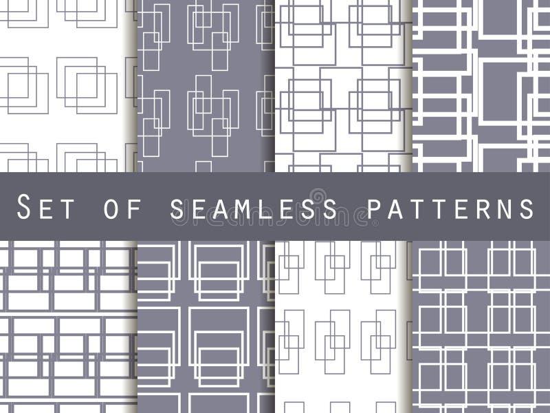 Καθορισμένα άνευ ραφής σχέδια με τις γραμμές και τα τετράγωνα Γραπτό χρώμα απεικόνιση αποθεμάτων