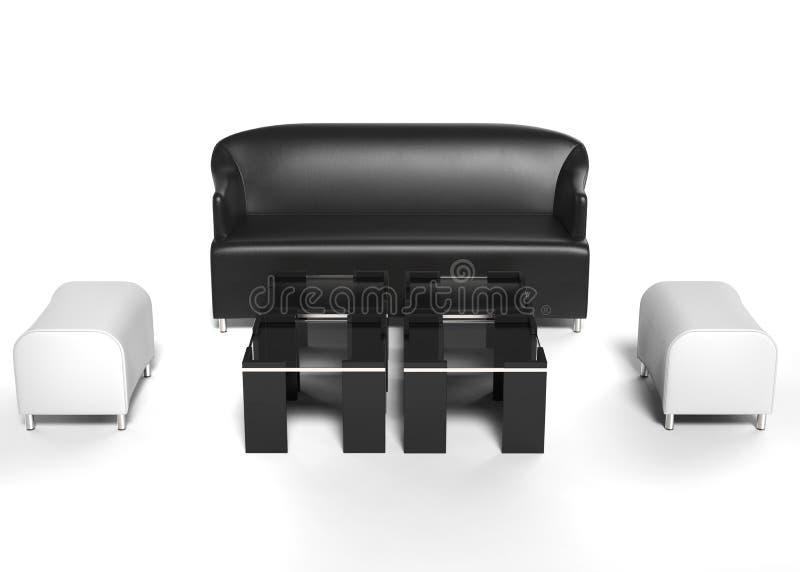 Καθορισμένα έπιπλα καθιστικών - μαύρος καναπές δέρματος με λευκούς Οθωμανούς και τα τραπεζάκια σαλονιού στοκ εικόνα με δικαίωμα ελεύθερης χρήσης