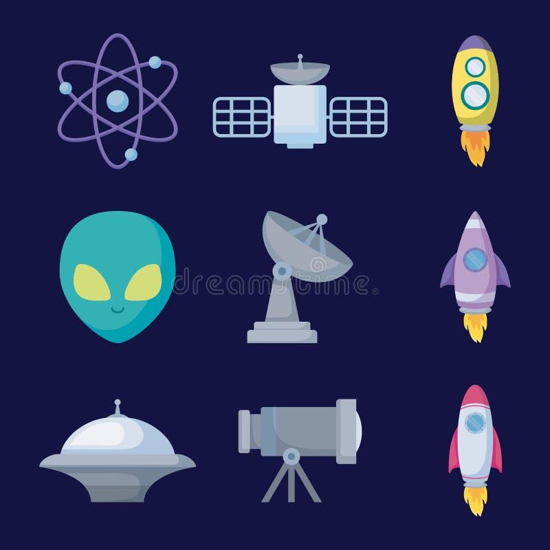 Καθορισμένα αντικείμενα του διαστημικού εικονιδίου κόσμου ελεύθερη απεικόνιση δικαιώματος