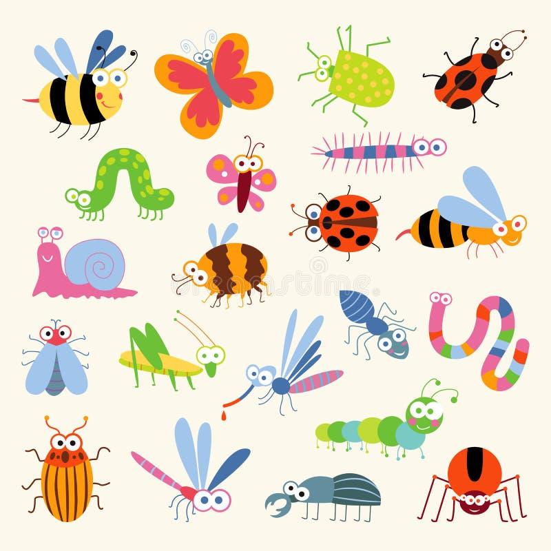 Καθορισμένα αστεία έντομα διανυσματική απεικόνιση