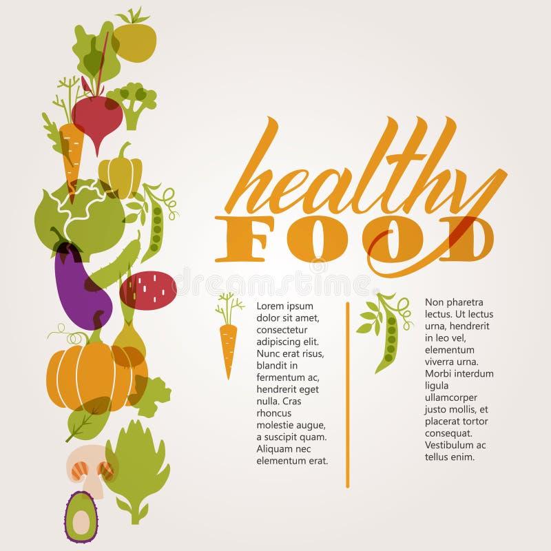 καθορισμένα λαχανικά Υγιής πίνακας τροφίμων απεικόνιση αποθεμάτων