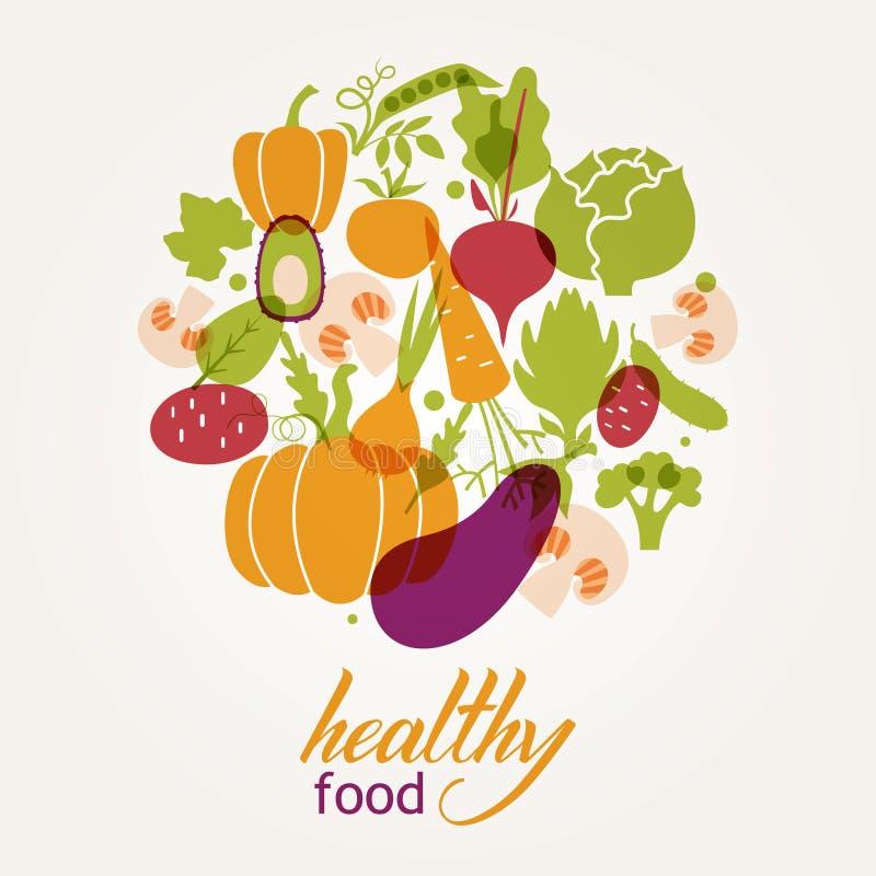 καθορισμένα λαχανικά Υγιής πίνακας τροφίμων διανυσματική απεικόνιση