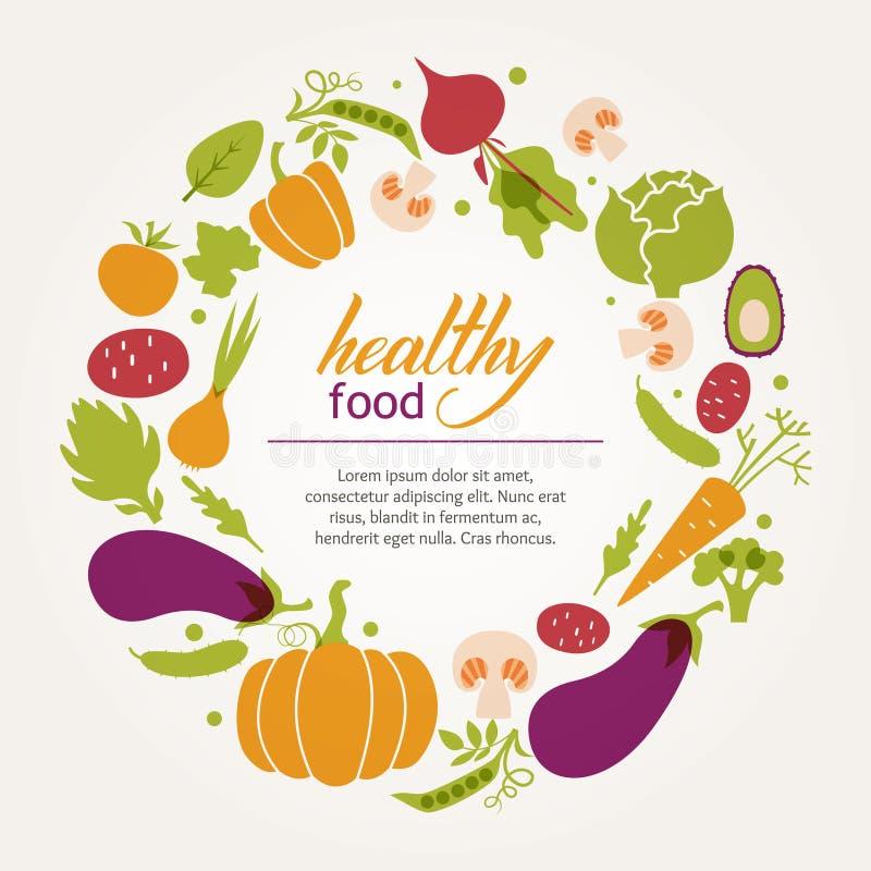 καθορισμένα λαχανικά Υγιής πίνακας τροφίμων ελεύθερη απεικόνιση δικαιώματος
