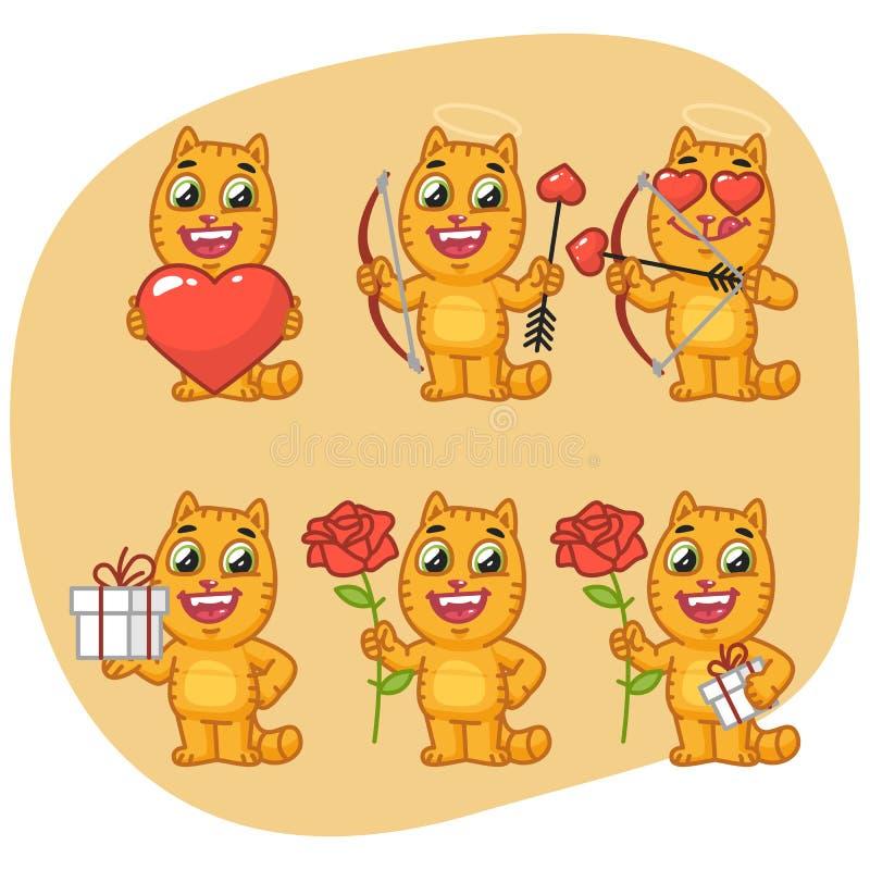 Καθορισμένα βέλη και τόξο καρδιών δώρων λουλουδιών εκμετάλλευσης γατών χαρακτήρα ελεύθερη απεικόνιση δικαιώματος