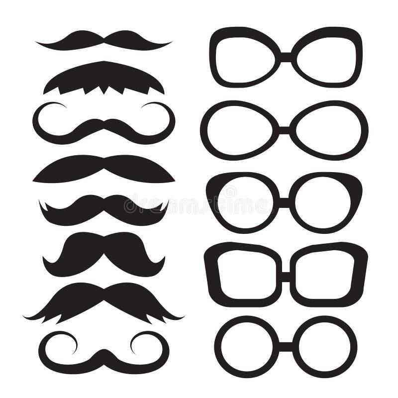 Καθορισμένα γυαλιά και mustache απεικόνιση αποθεμάτων