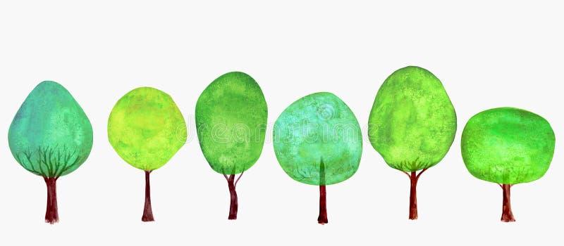 καθορισμένα δέντρα Θερινή ανασκόπηση Πράσινη ζωηρόχρωμη φρέσκια συλλογή δέντρων κινούμενων σχεδίων Watercolor απεικόνιση αποθεμάτων