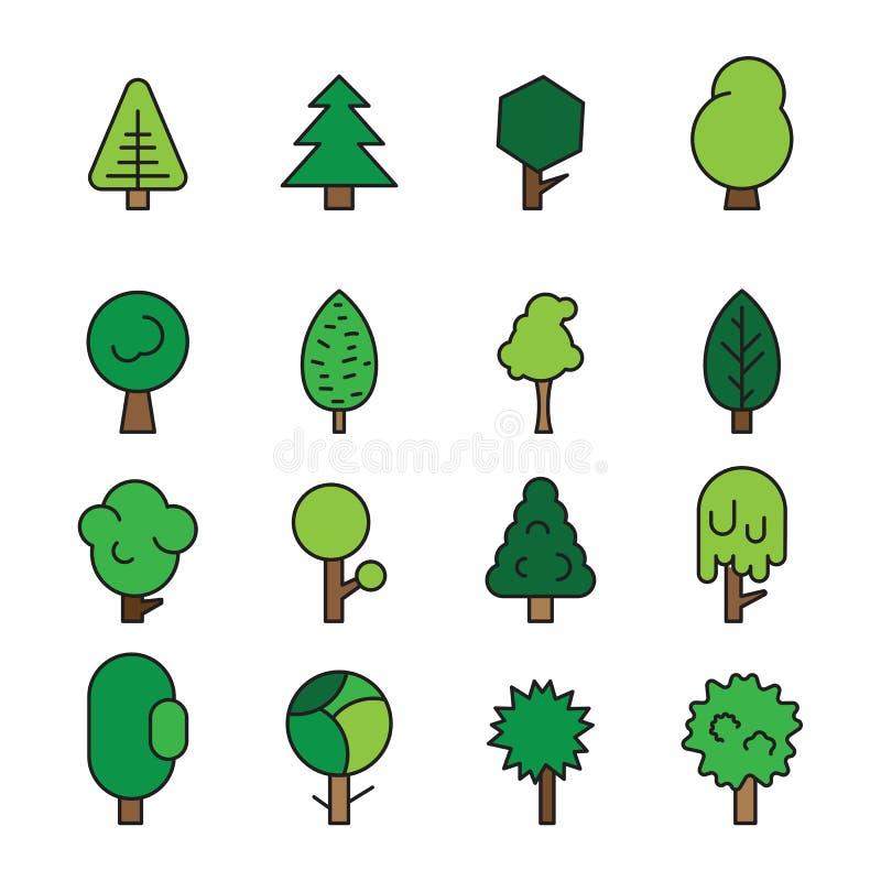 Καθορισμένα δασικά δέντρα, evergreens κωνοφόρα δέντρα και πεύκο διανυσματική απεικόνιση