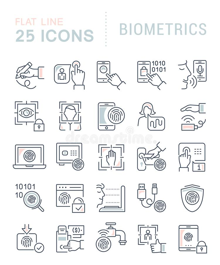 Καθορισμένα διανυσματικά εικονίδια γραμμών της βιομετρικής ελεύθερη απεικόνιση δικαιώματος
