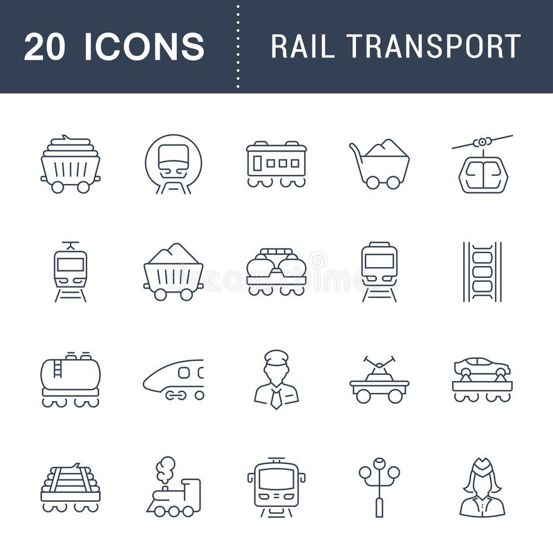 Καθορισμένα διανυσματικά εικονίδια γραμμών των σιδηροδρομικών μεταφορών διανυσματική απεικόνιση