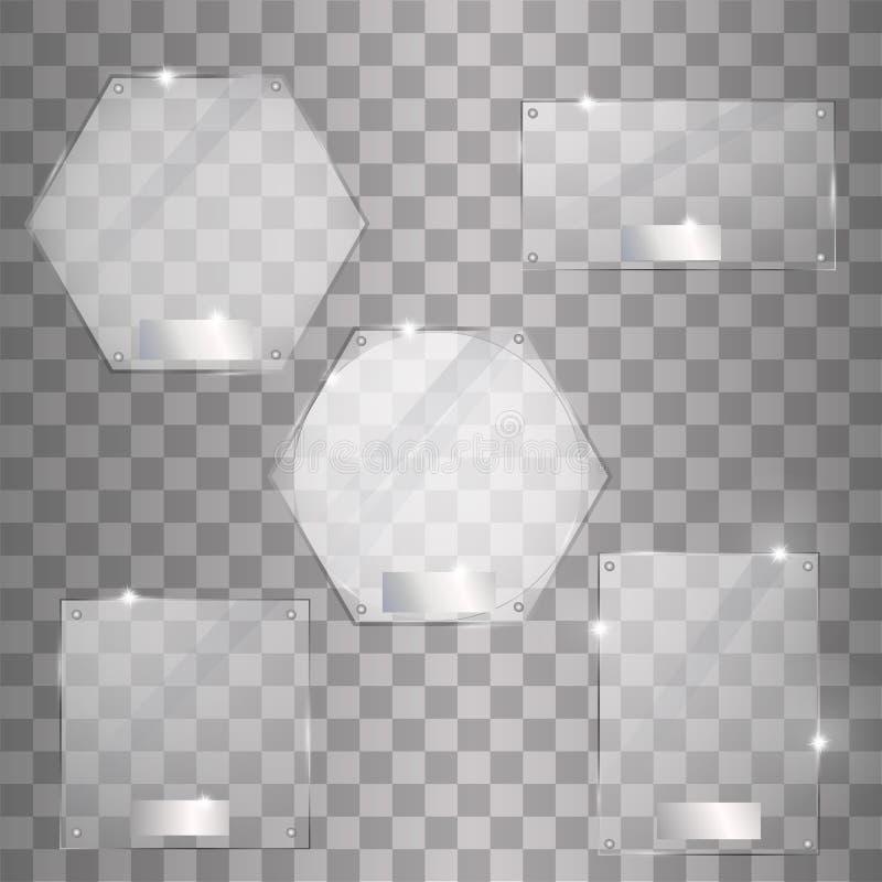 Καθορισμένα διανυσματικά σύγχρονα εμβλήματα πιάτων γυαλιού στο διαφανές υπόβαθρο απεικόνιση αποθεμάτων