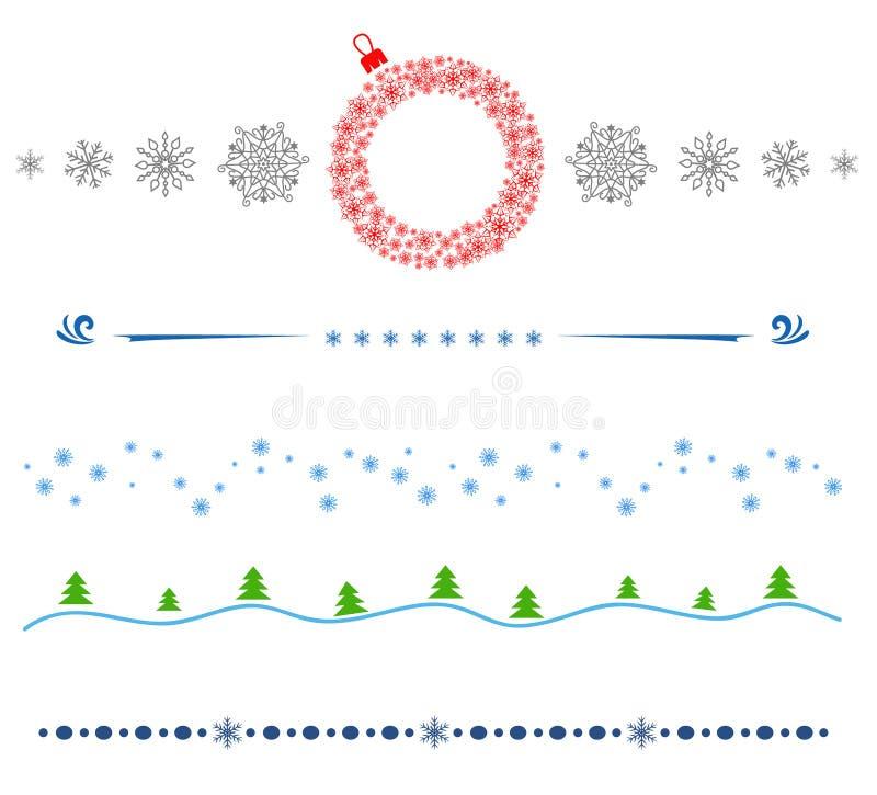 Καθορισμένα διανυσματικά σύνορα γραμμών Χαρούμενα Χριστούγεννα στοιχείων σχεδίου απεικόνιση αποθεμάτων