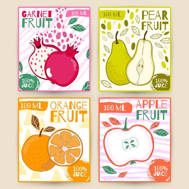 Καθορισμένα διανυσματικά φρούτα ετικετών χυμού Apple, γρανάτης, αχλάδι, πορτοκάλι Το χέρι σύρει την απεικόνιση Σχέδιο τροφίμων γι ελεύθερη απεικόνιση δικαιώματος