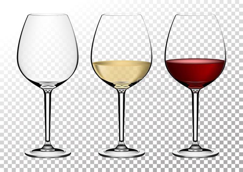 Καθορισμένα διαφανή διανυσματικά γυαλιά κρασιού κενά, με το άσπρο και κόκκινο κρασί Διανυσματική απεικόνιση στο photorealistic ύφ ελεύθερη απεικόνιση δικαιώματος