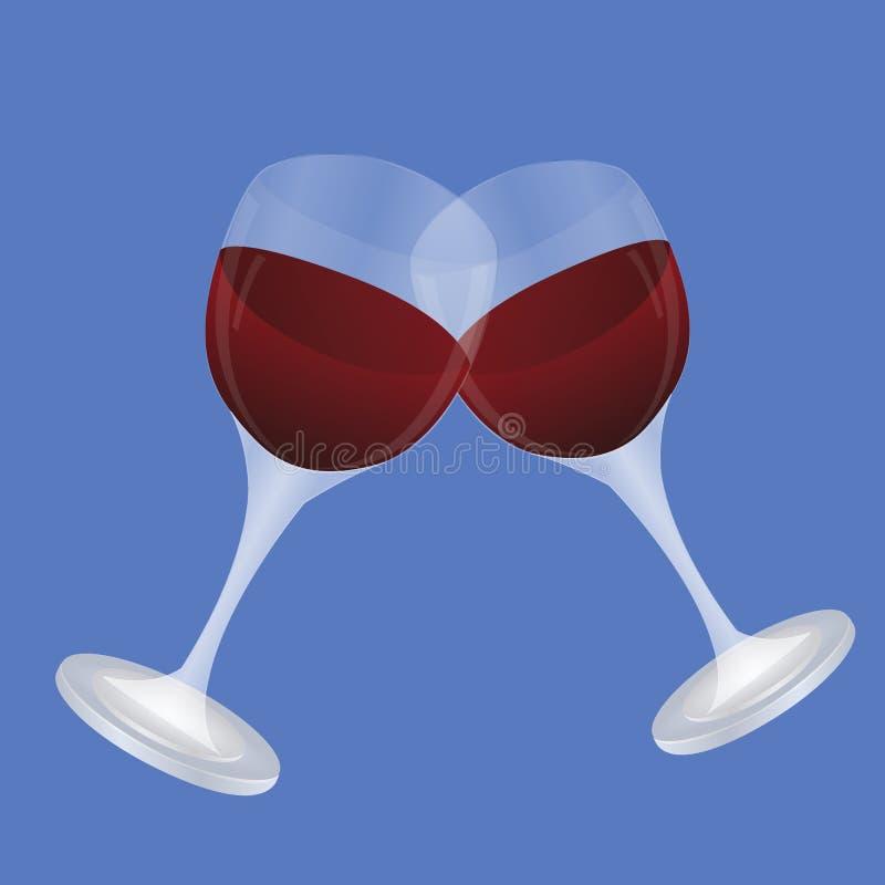 Καθορισμένα διαφανή διανυσματικά γυαλιά κρασιού κενά, με το άσπρο και κόκκινο κρασί ελεύθερη απεικόνιση δικαιώματος