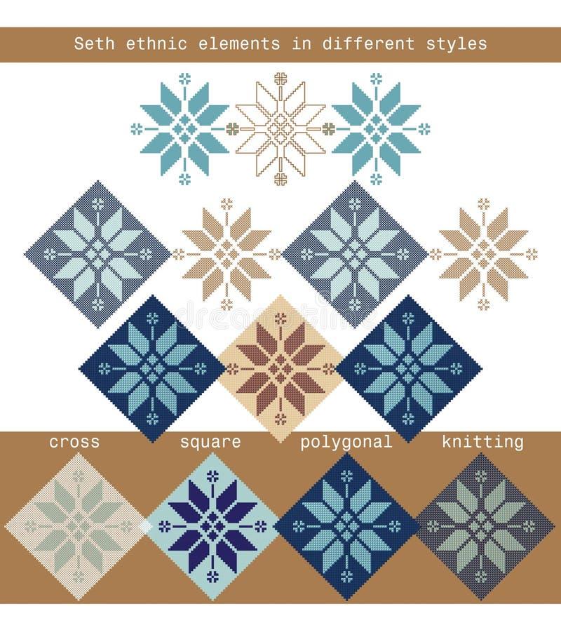 Καθορισμένα εθνικά στοιχεία στις διαφορετικές μορφές - διασχίστε, τακτοποιήστε, polygonal, πλεκτός απεικόνιση αποθεμάτων
