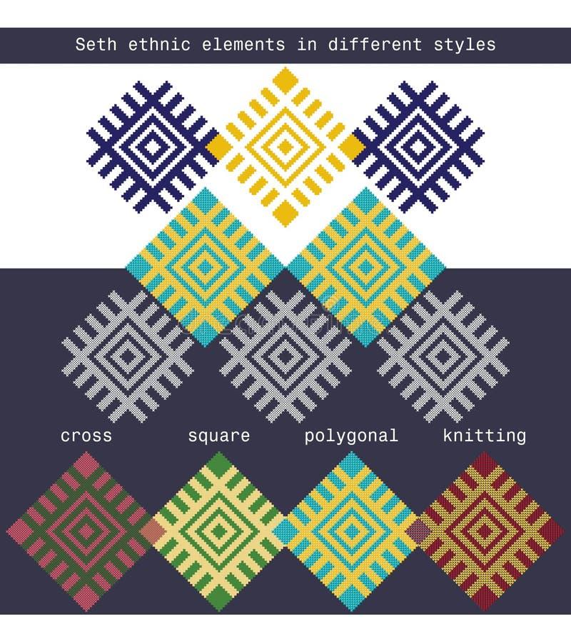 Καθορισμένα εθνικά στοιχεία στις διαφορετικές μορφές - διασχίστε, τακτοποιήστε, polygonal, πλεκτός ελεύθερη απεικόνιση δικαιώματος
