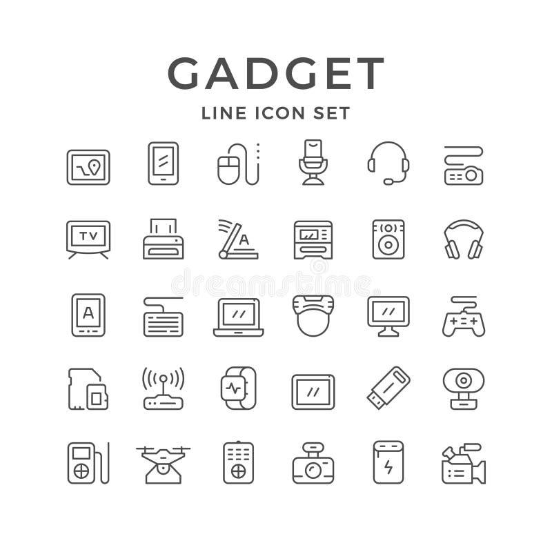Καθορισμένα εικονίδια γραμμών της συσκευής απεικόνιση αποθεμάτων