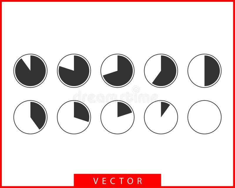 Καθορισμένα εικονίδια διαγραμμάτων πιτών Διάνυσμα διαγραμμάτων κύκλων Πρότυπο λογότυπων γραφικών παραστάσεων διαγραμμάτων συλλογή απεικόνιση αποθεμάτων
