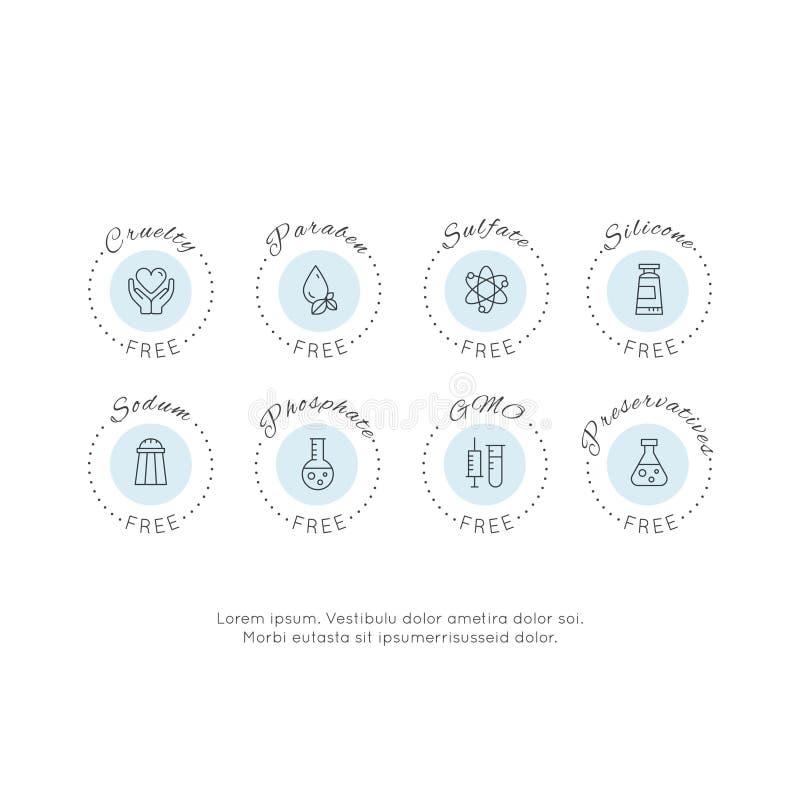 Καθορισμένα εικονίδια ετικετών προειδοποίησης συστατικών διακριτικών λογότυπων απεικόνισης ΓΤΟ, SLS, Paraben, σκληρότητα, θειικό  διανυσματική απεικόνιση