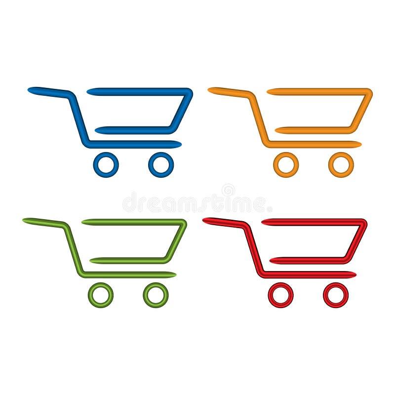 Καθορισμένα εικονίδια κάρρων αγορών Επίπεδο εικονίδιο Ζωηρόχρωμα εικονίδια κάρρων αγορών απεικόνιση αποθεμάτων