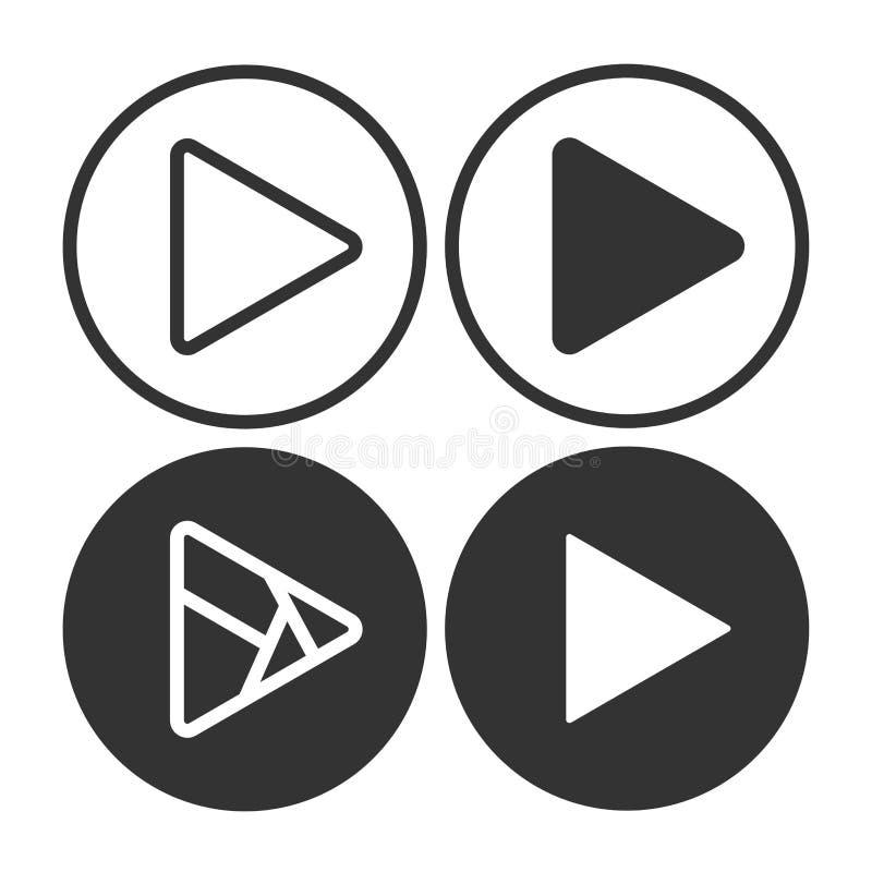 Καθορισμένα εικονίδια κουμπιών παιχνιδιού Η μουσική και το βίντεο χτυπούν προς τα εμπρός το σύμβολο μορφής Μέσα φορέων έναρξης βε απεικόνιση αποθεμάτων