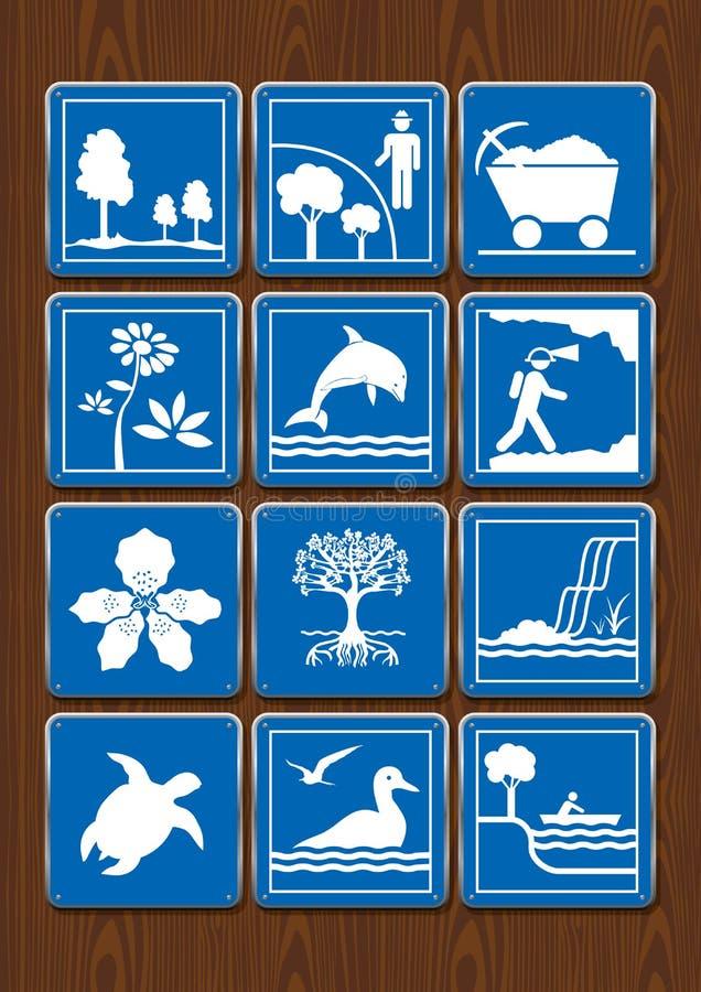 Καθορισμένα εικονίδια της προστατευόμενης ζώνης, μεταλλεία, λουλούδι, δελφίνι, γεωλογία, ορχιδέα, μαγγρόβιο, καταρράκτης, χελώνα, απεικόνιση αποθεμάτων