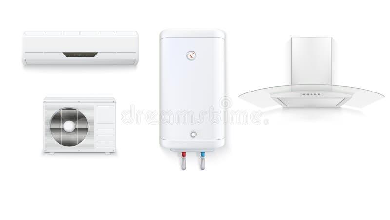 Καθορισμένα εικονίδια των οικιακών συσκευών σε ένα άσπρο υπόβαθρο Κλιματισμός, άσπρος θερμοσίφωνας, κουκούλα εξολκέων με το γυαλί διανυσματική απεικόνιση