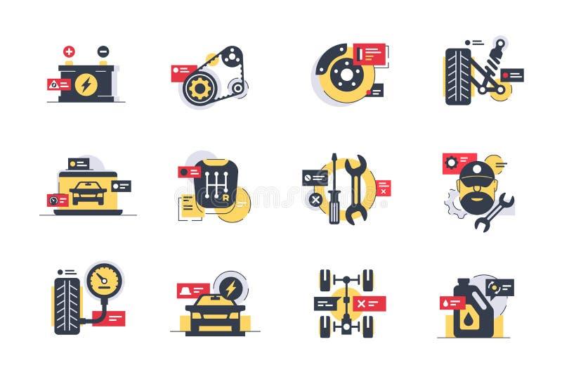Καθορισμένα εικονίδια υπηρεσιών αυτοκινήτων με τις ρόδες, μηχανή, μετάδοση, εργαλείο επισκευής ελεύθερη απεικόνιση δικαιώματος