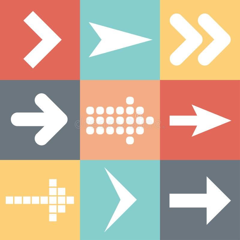 Καθορισμένα εικονίδια βελών, επίπεδη τάση στοιχείων σχεδίου Ιστού UI, διανυσματική απεικόνιση ελεύθερη απεικόνιση δικαιώματος