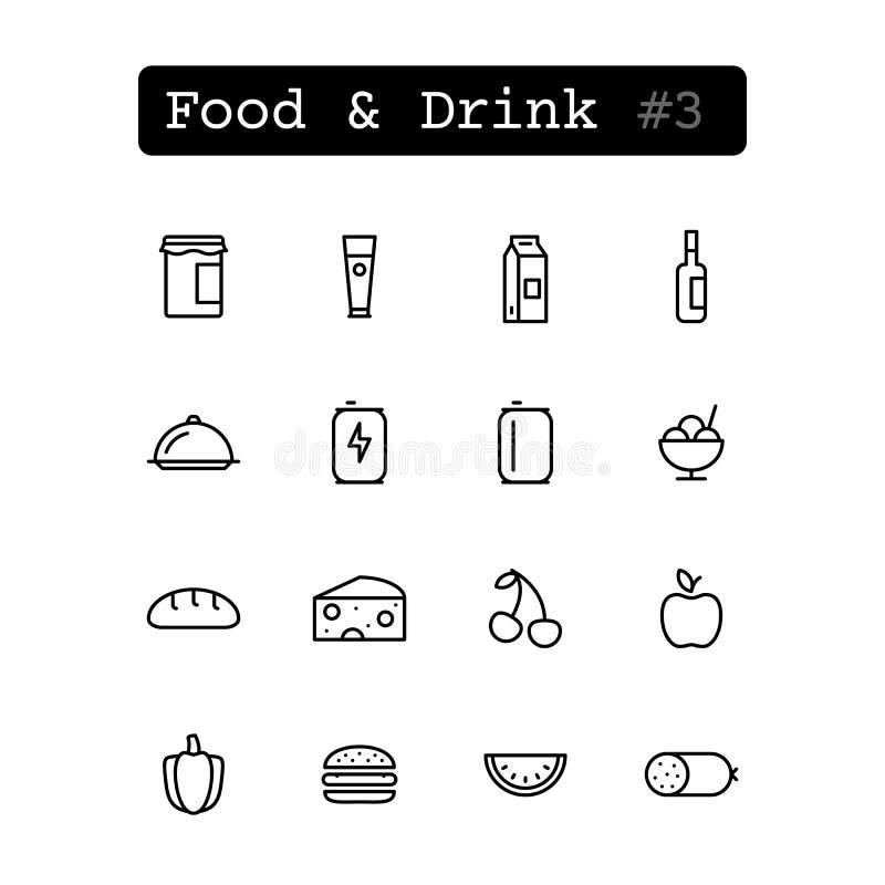 Καθορισμένα εικονίδια γραμμών διάνυσμα Τρόφιμα & ποτό ελεύθερη απεικόνιση δικαιώματος