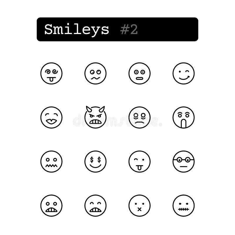 Καθορισμένα εικονίδια γραμμών διάνυσμα smileys απεικόνιση αποθεμάτων