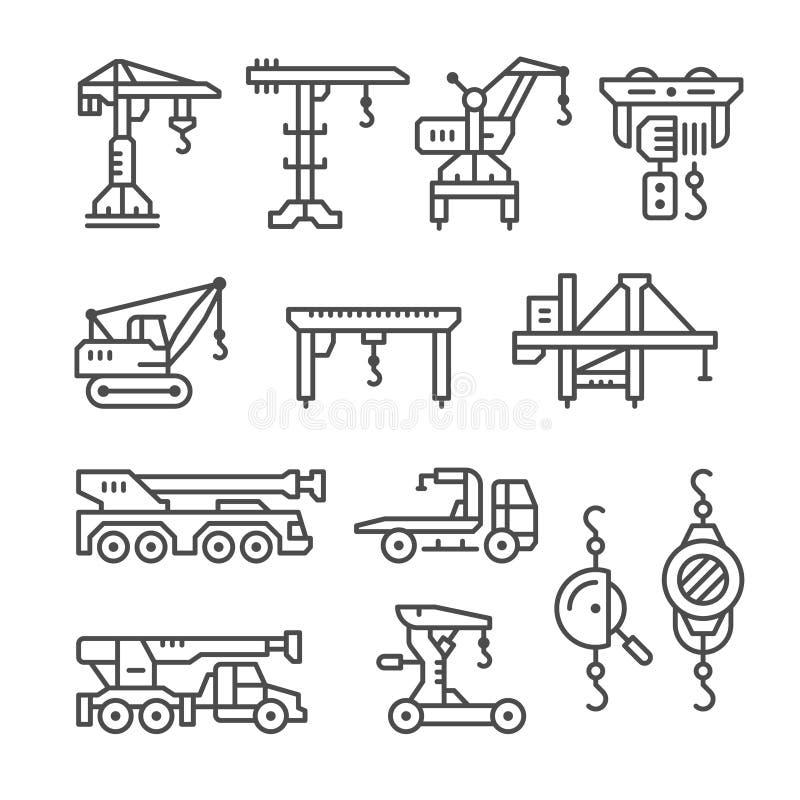 Καθορισμένα εικονίδια γραμμών του γερανού, ανελκυστήρες, βαρούλκα απεικόνιση αποθεμάτων