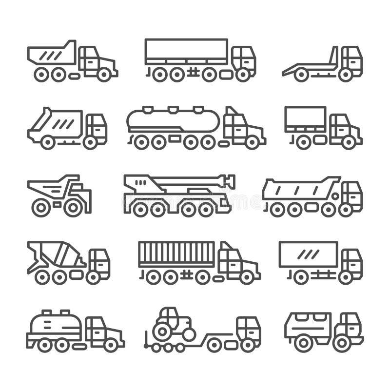 Καθορισμένα εικονίδια γραμμών των φορτηγών ελεύθερη απεικόνιση δικαιώματος