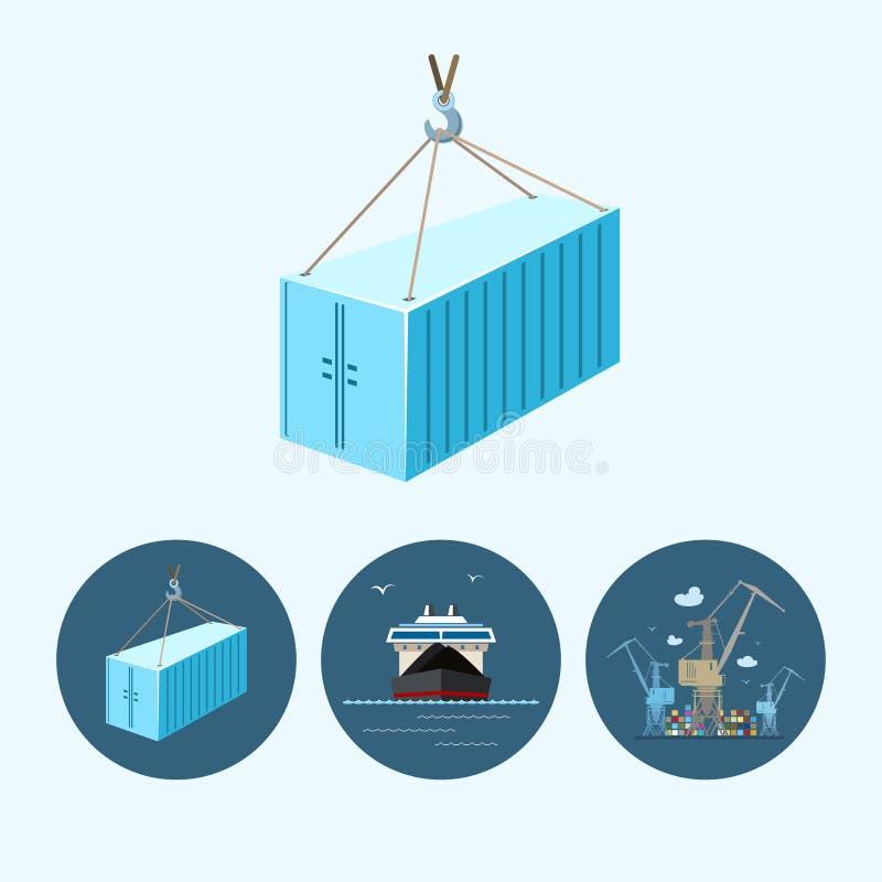 Καθορισμένα εικονίδια με το εμπορευματοκιβώτιο, ξηρό φορτηγό πλοίο, ο γερανός με τα εμπορευματοκιβώτια στην αποβάθρα, διανυσματικ απεικόνιση αποθεμάτων