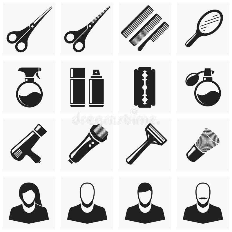 Καθορισμένα εικονίδια περικοπών τρίχας απεικόνιση αποθεμάτων