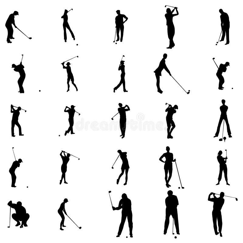 Καθορισμένα εικονίδια σκιαγραφιών παικτών γκολφ, απλό ύφος διανυσματική απεικόνιση