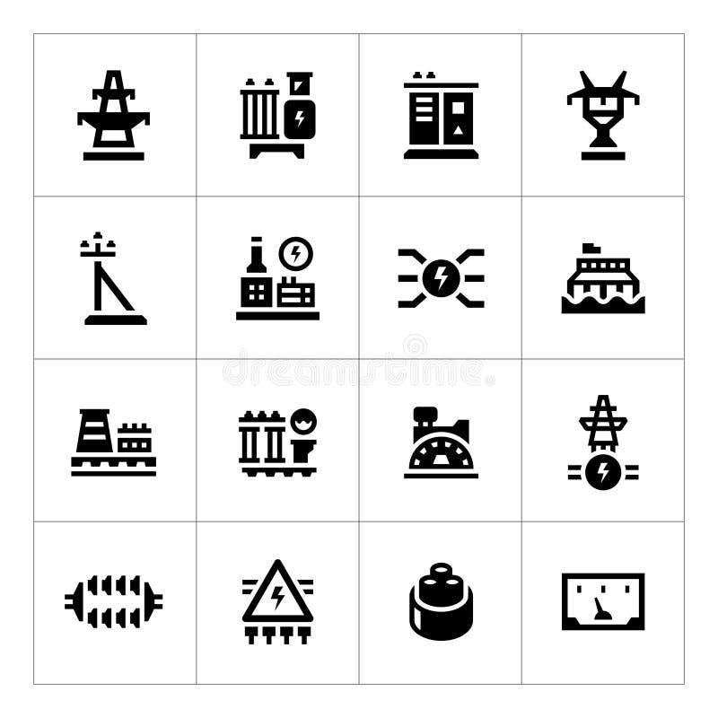 Καθορισμένα εικονίδια της βιομηχανίας δύναμης ελεύθερη απεικόνιση δικαιώματος