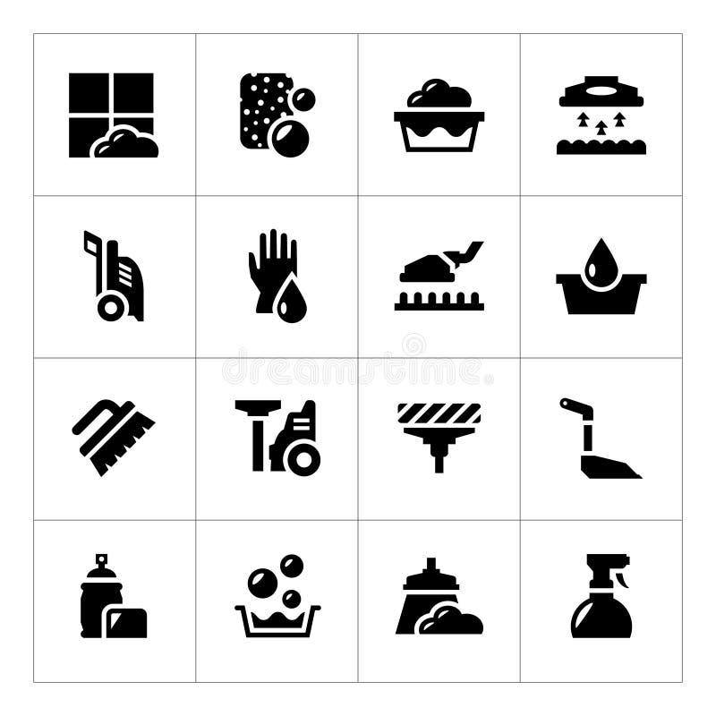 Καθορισμένα εικονίδια του καθαρισμού διανυσματική απεικόνιση