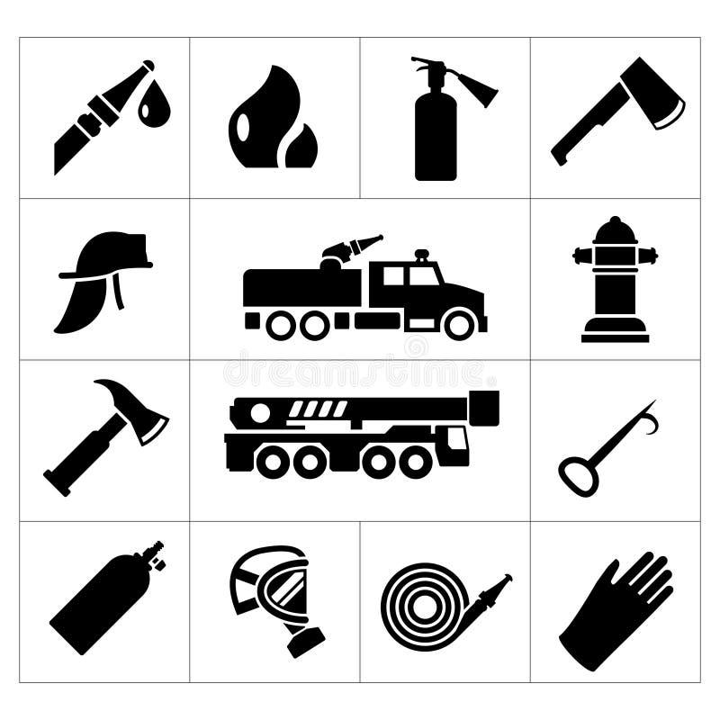 Καθορισμένα εικονίδια του πυροσβέστη και του πυροσβέστη ελεύθερη απεικόνιση δικαιώματος