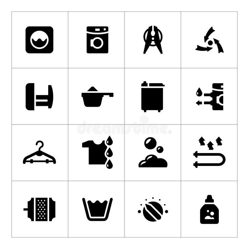 Καθορισμένα εικονίδια του πλυντηρίου διανυσματική απεικόνιση