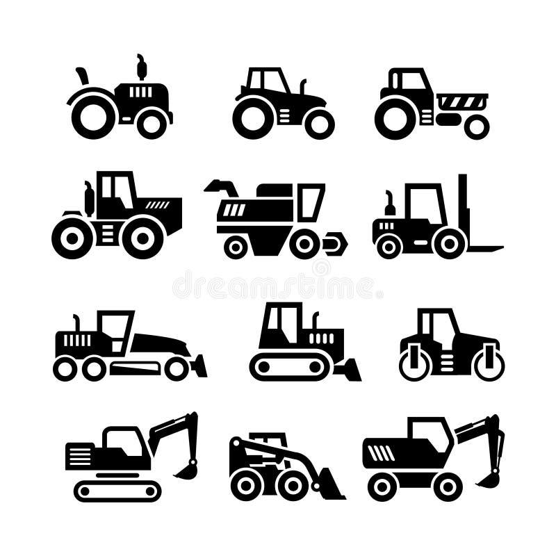 Καθορισμένα εικονίδια των τρακτέρ, του αγροκτήματος και των μηχανών κτηρίων απεικόνιση αποθεμάτων