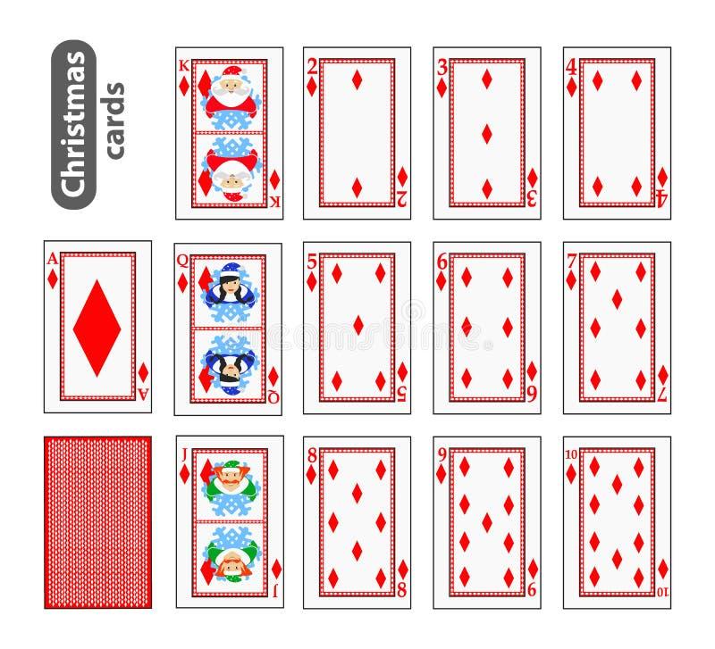Καθορισμένα εικονίδια Χριστουγέννων πόκερ καρτών κόκκινο διαμάντι χρώματος Άγιος Βασίλης, κορίτσι και νεράιδα απεικόνιση Χρήση γι διανυσματική απεικόνιση