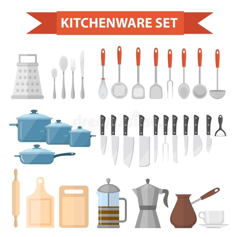 Καθορισμένα εικονίδια Cookware, επίπεδο ύφος Εργαλεία κουζινών καθορισμένα απομονωμένα στο άσπρο υπόβαθρο Μαγειρεύοντας εργαλεία  ελεύθερη απεικόνιση δικαιώματος