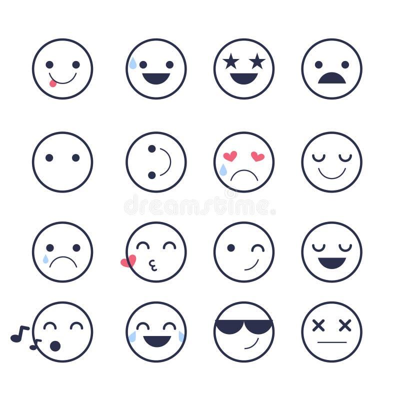 Καθορισμένα εικονίδια Smiley για τις εφαρμογές και τη συνομιλία Emoticons με τις διαφορετικές συγκινήσεις που απομονώνονται στο ά διανυσματική απεικόνιση