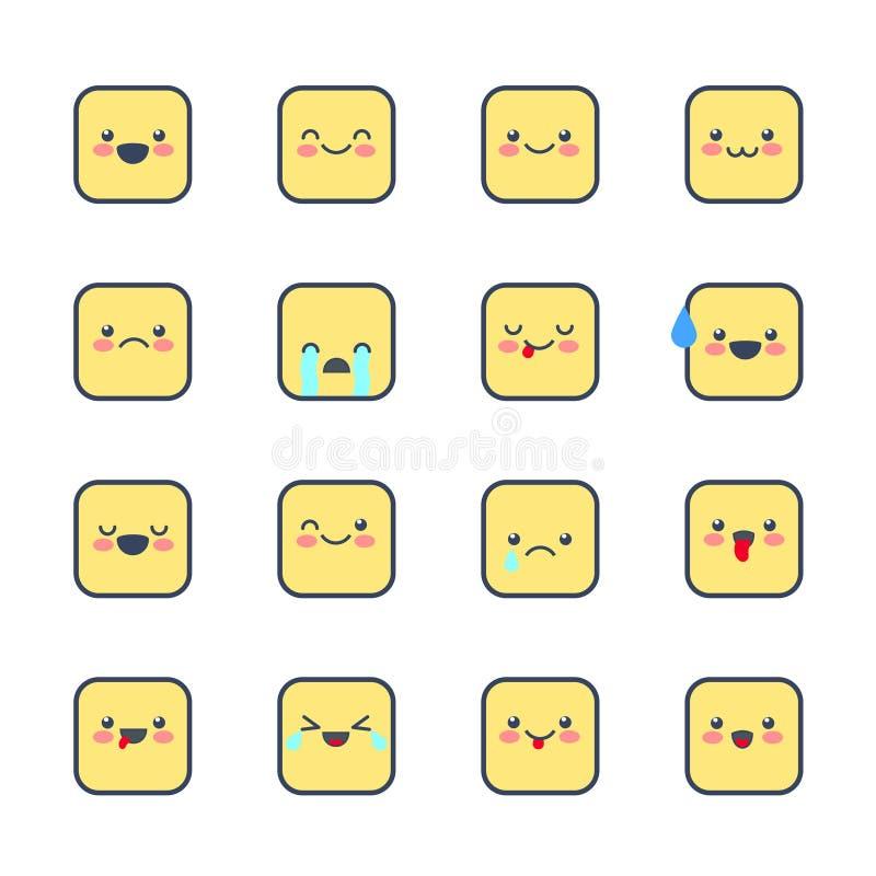 Καθορισμένα εικονίδια Smiley για τις εφαρμογές και τη συνομιλία Emoticons με τις διαφορετικές συγκινήσεις που απομονώνονται στο ά απεικόνιση αποθεμάτων