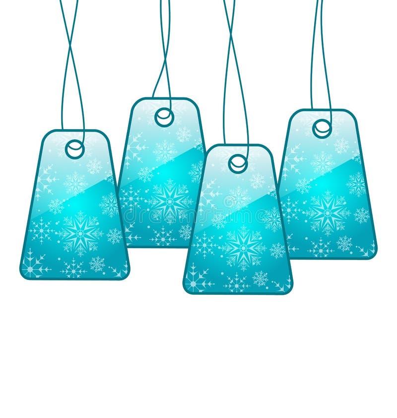 Καθορισμένα εισιτήρια έκπτωσης Χριστουγέννων ζωηρόχρωμα διανυσματική απεικόνιση