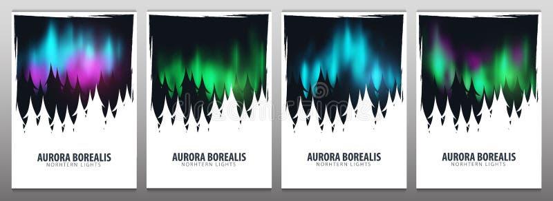 Καθορισμένα εμβλήματα του νυχτερινού ουρανού, αυγή Borealis, βόρεια επίδραση φω'των στο σκοτεινό υπόβαθρο πίσω από το δάσος ρεαλι ελεύθερη απεικόνιση δικαιώματος