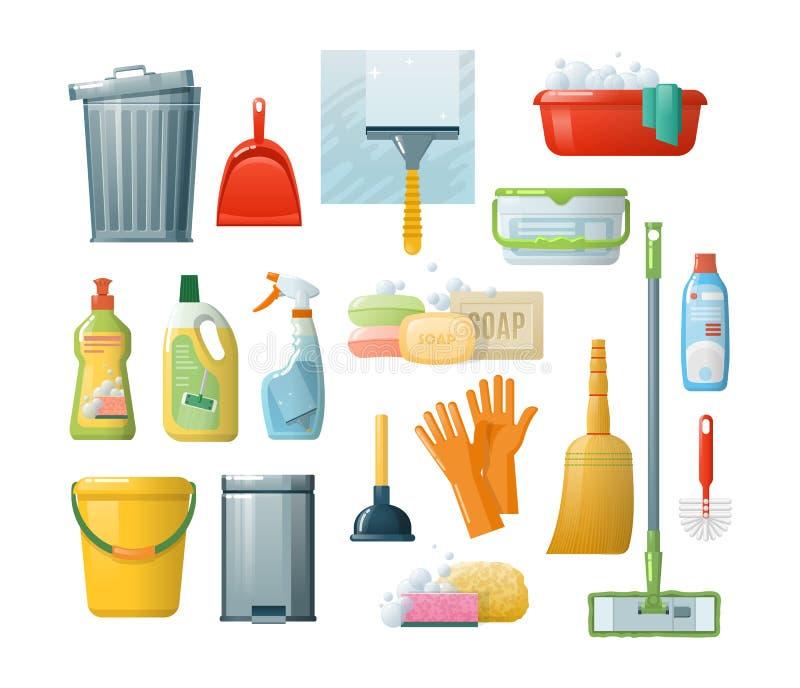 Καθορισμένα εξαρτήματα για τον καθαρισμό: κάδοι, εργαλεία, βούρτσες, λεκάνες, γάντια, σφουγγάρια απεικόνιση αποθεμάτων