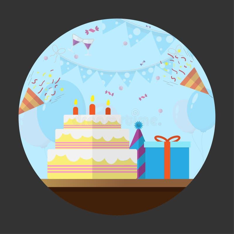 Καθορισμένα επίπεδα γενέθλια εικονιδίων διανυσματική απεικόνιση