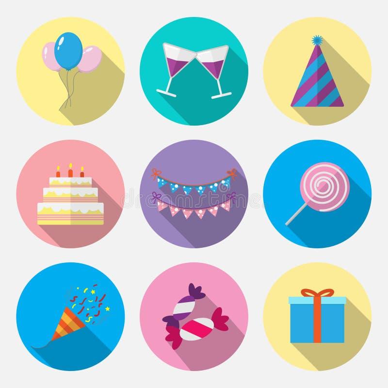 Καθορισμένα επίπεδα γενέθλια εικονιδίων ελεύθερη απεικόνιση δικαιώματος